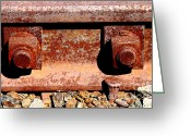 Train Track Greeting Cards - Railroad Track Nuts Bolts Spikes . 7D12683 Greeting Card by Wingsdomain Art and Photography