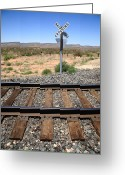 Americana Greeting Cards - Railroad Tracks and Crossing Greeting Card by Frank Romeo