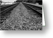 Rail Roads Greeting Cards - Railroad Tracks . Black and White Greeting Card by Wingsdomain Art and Photography