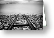Railroad Track Greeting Cards - Railroad Tracks Into Water Greeting Card by Peter Levi