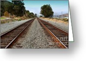 Railroad Track Greeting Cards - Railroad Tracks With The New Alfred Zampa Memorial Bridge and The Old Carquinez Bridge In Distance Greeting Card by Wingsdomain Art and Photography