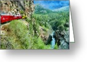 Engines Greeting Cards - Rails Above the River Greeting Card by Jeff Kolker