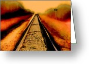 Pencil Drawing Digital Art Greeting Cards - Rails Greeting Card by Garry Staranchuk