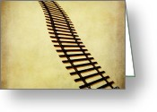 Railroad Track Greeting Cards - Railway Greeting Card by Bernard Jaubert