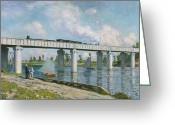 Argenteuil Greeting Cards - Railway Bridge at Argenteuil Greeting Card by Claude Monet