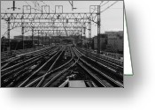 Railroad Track Greeting Cards - Railway Tracks In Japan Greeting Card by Sner3jp
