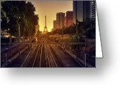 Eiffel Tower Greeting Cards - Railway Tracks Greeting Card by Stéphanie Benjamin