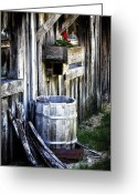Rain Barrel Photo Greeting Cards - Rain Barrel Geranium Greeting Card by Melissa  Connors