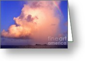 Caribbean Sea Greeting Cards - Rain Cloud and Rainbow Greeting Card by Thomas R Fletcher