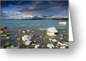 Rain Cloud Greeting Cards - Rain Clouds Gather At Dusk Lake Tekapo Greeting Card by Colin Monteath