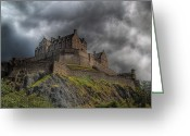 Old Prints Posters Greeting Cards - Rain Clouds Over Edinburgh Castle Greeting Card by Amanda Finan