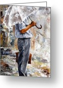 Office Painting Greeting Cards - Rain day - The office man Greeting Card by Emerico Toth