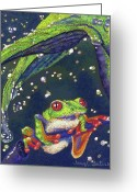 Amazon Greeting Cards - Rain Drops - Tree Frog Greeting Card by Tracy L Teeter