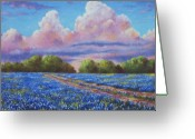 Rain Painting Greeting Cards - Rain For The Bluebonnets Greeting Card by David G Paul