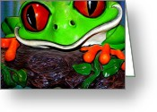Grand Memories Greeting Cards - Rain Forest Frog Greeting Card by John Haldane
