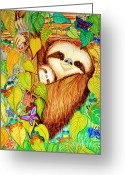 Sunset Drawings Greeting Cards - Rain Forest Survival Mother and Baby Three Toed Sloth Greeting Card by Nick Gustafson