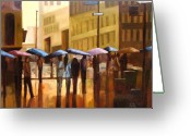Cities Greeting Cards - Rain in Manhattan number seventeen Greeting Card by Tate Hamilton