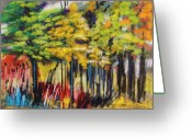 Vibrant Pastels Greeting Cards - Rain in the Trees Greeting Card by John  Williams