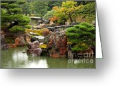 Raining Photo Greeting Cards - Rain on Kyoto Garden Greeting Card by Carol Groenen