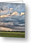 Grey Clouds Greeting Cards - Rain On The Hay Harvest Greeting Card by Jan Amiss Photography