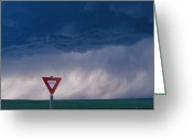 Rain Storms Greeting Cards - Rain Pours Out Of Dark Clouds On Plains Greeting Card by Carsten Peter