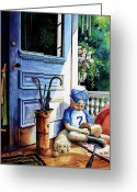 Child Playing Baseball Greeting Cards - Rain Rain Go Away Greeting Card by Hanne Lore Koehler