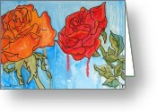 Cry Mixed Media Greeting Cards - Rain Roses 2 Greeting Card by E Gibbons