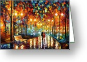Afremov Greeting Cards - Rain Rustle Greeting Card by Leonid Afremov