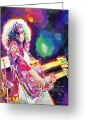 Featured Artist Painting Greeting Cards - Rain Song - Jimmy Page Greeting Card by David Lloyd Glover