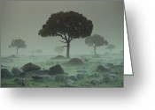 Raining Greeting Cards - Rain Storm On The Serengeti Plains Kenya Greeting Card by Tim Fitzharris
