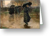 Puddle Painting Greeting Cards - Rain Storm Union Square Greeting Card by Childe Hassam