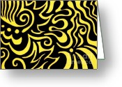 Yellow Drawings Greeting Cards - Rainbow Abstract 3 of 6 Greeting Card by Mandy Shupp