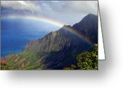 Na Pali Coast Kauai Greeting Cards - Rainbow Along the Na Pali Coast Kauai Hawaii from the Kalalau Lookout Greeting Card by Brendan Reals