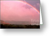 Palo Duro Canyon State Park Greeting Cards - Rainbow and Clearing Storm Greeting Card by Thomas R Fletcher