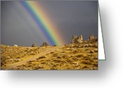 Natural Formations Greeting Cards - Rainbow and Desert Landscape Greeting Card by David Buffington