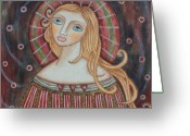 Religious Art Painting Greeting Cards - Rainbow Angel Greeting Card by Rain Ririn