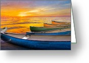 Sea Kayak Greeting Cards - Rainbow Armada Greeting Card by Debra and Dave Vanderlaan