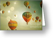 Baby Room Greeting Cards - Rainbow Balloon Enchantment Greeting Card by Andrea Hazel Ihlefeld