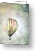 Balloon Fiesta Greeting Cards - Rainbow Balloon Lights Greeting Card by Andrea Hazel Ihlefeld