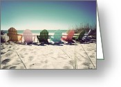 Sanibel Island Greeting Cards - Rainbow Beach-Vintage Greeting Card by Chris Andruskiewicz