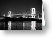 Suspension Bridge Greeting Cards - Rainbow Bridge At Night Greeting Card by Xkhol