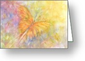 Larva Mixed Media Greeting Cards - Rainbow Butterfly 3 Greeting Card by Kathleen Pio