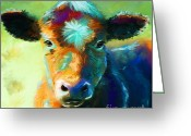 Cowboy Digital Art Greeting Cards - Rainbow Calf Greeting Card by Michelle Wrighton