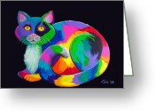 Calico Cat Greeting Cards - Rainbow Calico Greeting Card by Nick Gustafson
