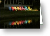 Florida Living Greeting Cards - Rainbow Chairs  Greeting Card by Peg Urban