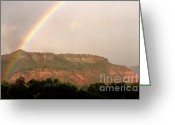 Palo Duro Canyon State Park Greeting Cards - Rainbow Clearing Storm Greeting Card by Thomas R Fletcher