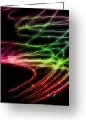 Curved Lines Greeting Cards - Rainbow Curves Greeting Card by Anthony Caruso