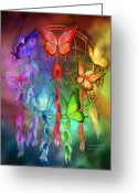 Catcher Greeting Cards - Rainbow Dreams Greeting Card by Carol Cavalaris