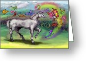 Fairies Greeting Cards - Rainbow Faeries and Unicorn Greeting Card by Kevin Middleton