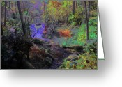 Fall Whimsical Digital Art Greeting Cards - Rainbow Fairies Sweep Across the Landscape Greeting Card by Anne Cameron Cutri